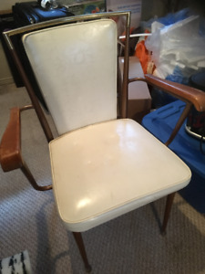 Vintage White Vinyl Chairs (Set of 5)