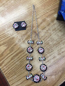 Native American Zuni handmade set sterling silver with pink opal
