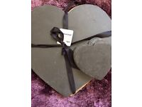 4 piece slate heart placemats and coasters