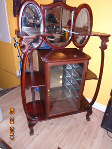 ANTIQUE DISPLAY CABINET, GLASS SHELVING EARLY 1900'S