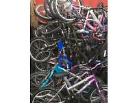 Job lot of 100 X Mixed boys and girls 20 inch bikes