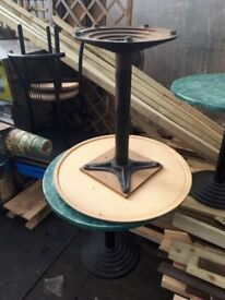 Round wooden top metal base Coffee Shop Tables