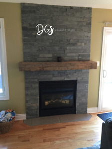 Barn Beam and Live Edge Fireplace Mantels