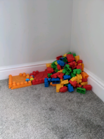 Big lot of large building blocks comes with track and cars