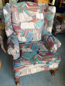 Book Themed Reading Super Comfortable Wing Back Arm Chair