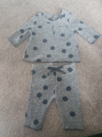 Newborn baby polka dot 2 piece outfit.