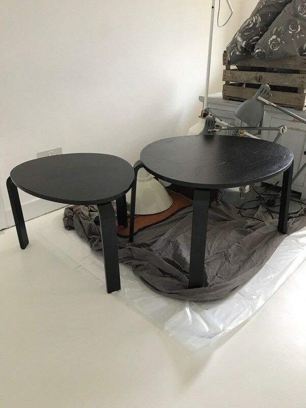Ikea Svalsta Nest Of Two Tables Black Brown