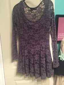 3 aritzia lace dresses black, grey, and gold
