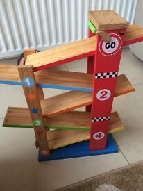 Wooden car race track boys
