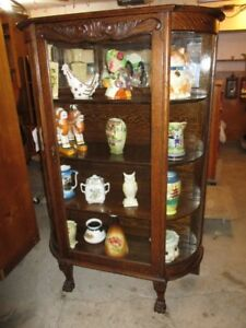 ESTATE 1920S CURVED GLASS OAK CHINA CABINET
