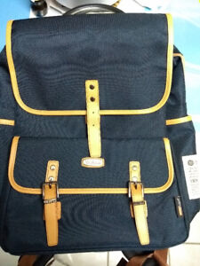 Navy blue & leather casual school backpack