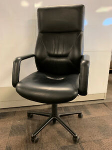 Keilhauer RESPONS  - 12 High Back Black Leather Boardroom Chairs