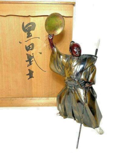 SAMURAI Bronze Statues Japanese Antique Metal Okimono Figurine Japan Warrior 2