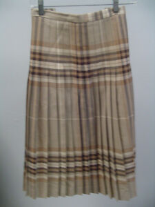Highland Queen 100% Wool Brown/Beige Pleated Skirt Kilt