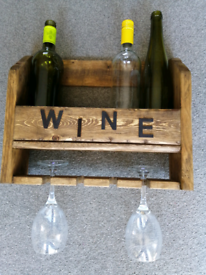Wine and glasses wall rack.