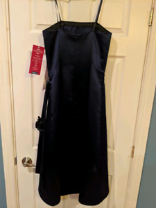 New with tags!  Navy satin cocktail dress.