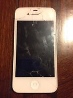 (FOR PARTS/REPAIR) used, water damaged, cracked iphone 4
