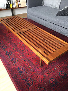 Mid-Century Modern Teak Slat Bench / Coffee Table - $350