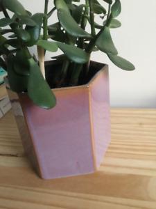 Ceramic plant pot, light pink, hexagon shaped