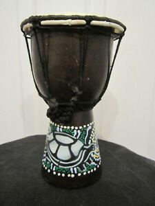 "Small Djembe 4"" Wood African Hand Drum"
