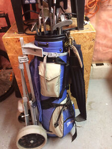 Golf Clubs, Bag, Cart, Balls, Tees