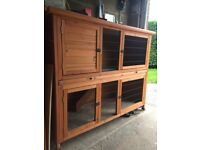 Rose Cottage Rabbit/ Guinea pig Hutch with removable tray, fox proof wire and adjustable feet