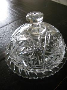 Handcut Crystal 5x4 Inch Round Butter Dish - Pinwheel $20