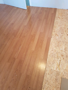 "8"" wide laminate click floor ~. 115 square feet"