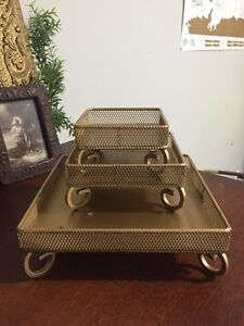 Gold Retro Stackable Makeup Trays
