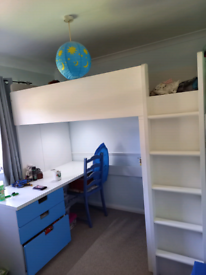 Cabin high sleeper bed wardrobe drawers & desk fantastic condition