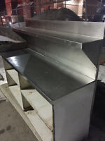 6FT STAINLESS STEEL TABLE WITH SHELVING, &UPPER SHELF