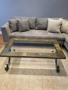 Coffee Family Room Table, 2 side Glass table, Love seat Sofa