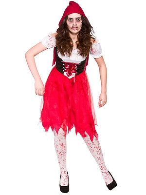 Red Hood Halloween Kostüme (Little Red Riding Hood Blood Zombie Ladies Halloween Horror Fancy Dress Costume)
