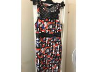 Topshop fitted multi colour net dress