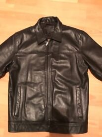 Black leather men's jacket - small