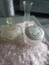 2 old fashioned glass jars and I small vase