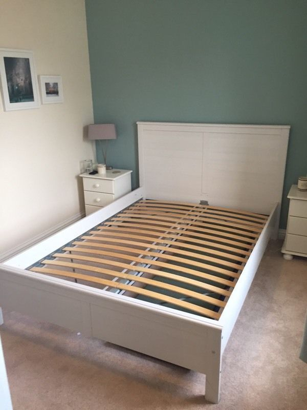 ikea aspelund white double bed frame and ikea sultan grey mattress - Ikea Sultan Bed Frame