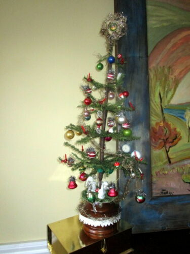 """Antique Christmas Goose feather tree  ,tinsel ,glass ornaments, wax candles -28"""""""