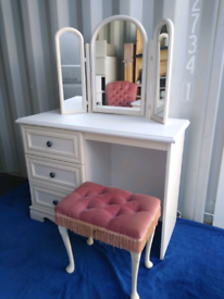 Solid pine dressing table with a stool