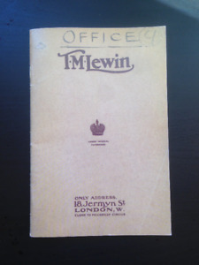 """'T.M.Lewin"""" (Mens wear) Reproduction of a 1905 catalogue"""