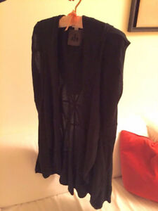 Diesel Black Wool & Silk Mixed Hooded Cape In Size Small (Paid