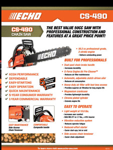 New 50 cc Echo CS490 chainsaws with 18 in bars