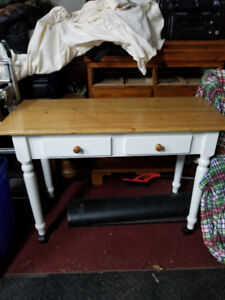 Solid Wood Kitchen Island with Pine Top and Two Drawers