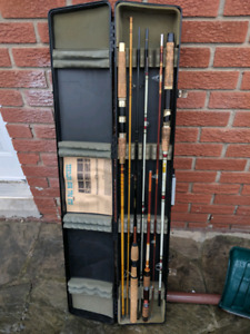 4 fishing rods with carrying case