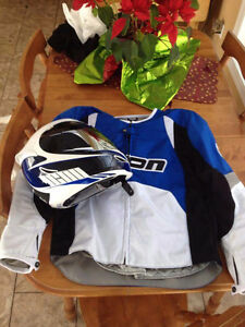 Blue icon jacket, with matching Icon helmet, like new