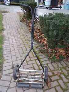 Manual propelled push mower.