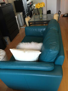 New Turquoise Leather Loveseat