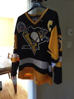 Signed Mario Lemieux jersey with 1991 Stanley cup patch