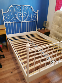 Ikea white metal frame bed