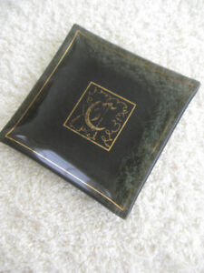 UNIQUE VINTAGE SHALLOW SQUARE MONOGRAMMED GLASS TRAY